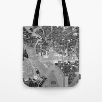 washington dc Tote Bags featuring Washington DC Street Map by Color and Form