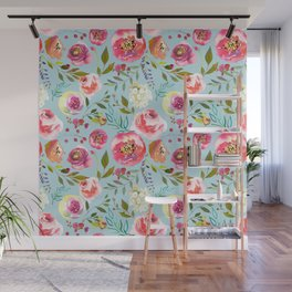 pink and blue watercolor peonies Wall Mural