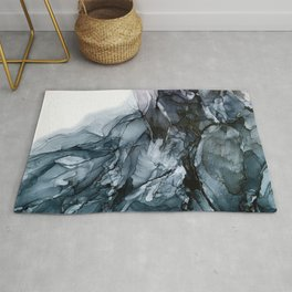 Dark Payne's Grey Flowing Abstract Painting Rug