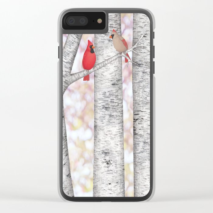 cardinals and birch trees Clear iPhone Case