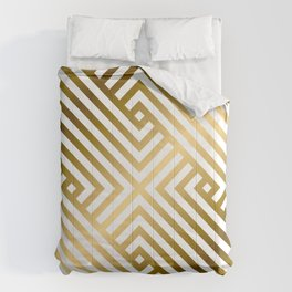 Art Deco Gold and Alabaster White Geometric Pattern Comforters