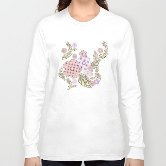 Flowers in polka dots. Long Sleeve T-shirt