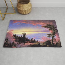 New England - Above the Clouds at Sunrise by Frederic Irwin Church Rug