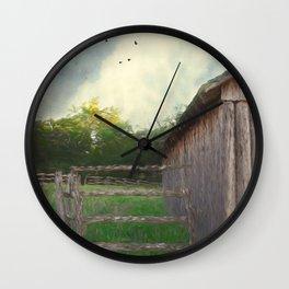 Rustic Summer Barnyard Wall Clock