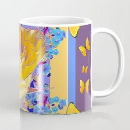 YELLOW BUTTERFLIES ART ROSE FLOWERS PUCE Coffee Mug