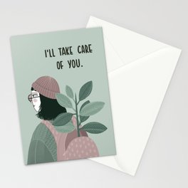 Girl with plant in the backpack illustration Stationery Cards
