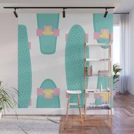 Pastel Skateboards Pattern Wall Mural