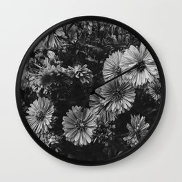 FLOWERS - FLORAL - BLACK AND WHITE Wall Clock