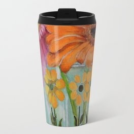 Gerber Daisy Retro Glass Painting Travel Mug