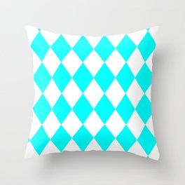 Diamonds (Aqua Cyan/White) Throw Pillow