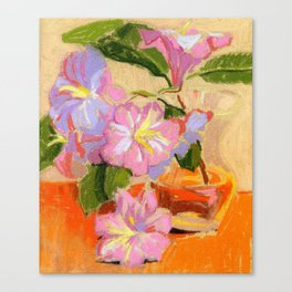 Light Rhododendron Blossom. Soft pastel painting. Still life. Canvas Print