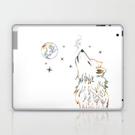 Wolf howling on moon sketch Laptop & iPad Skin
