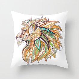 Ethnic Tribal Lion Doodle 01 Throw Pillow