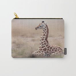 Young Giraffe resting in the grassland Carry-All Pouch
