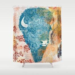 Blue Bison Shower Curtain