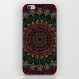 Mandala in dark green and red tones iPhone Skin