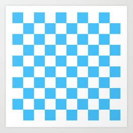 Cheerful Blue Checkerboard Pattern Art Print