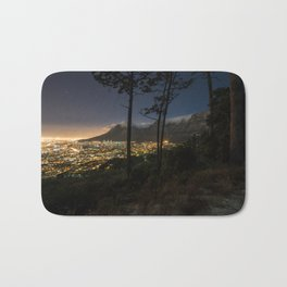 Cape Town city and Table Mountain at night Bath Mat