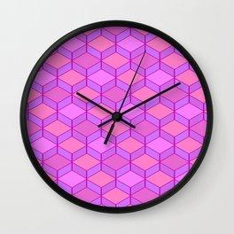 Geometric Pink and Purple Wall Clock
