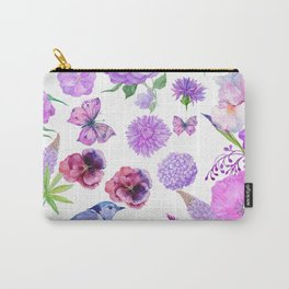 Elegant pink violet watercolor hand painted floral pattern Carry-All Pouch