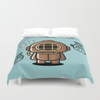 diver Duvet Covers featuring Vintage Diver by m. arief (mochawalk)