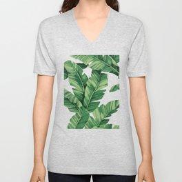 Tropical banana leaves VI Unisex V-Neck