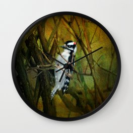 Downy Woodpecker Wall Clock