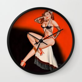 Pin-Up in Black Lace by Peter Driben Wall Clock