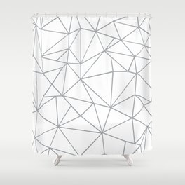 Ab Outline 2 Grey on White Shower Curtain