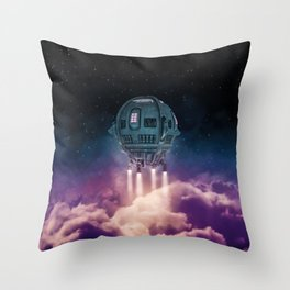 Out of the atmosphere / 3D render of spaceship rising above clouds Throw Pillow