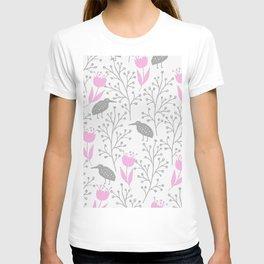 Kiwi Garden - Pink and Gray T-shirt