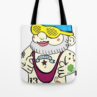 gnome Tote Bags featuring Gnome by craftyfoxstudios