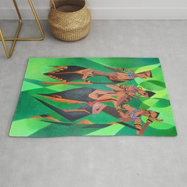 Three Ethnic Traditional Black Women Dancing Rug
