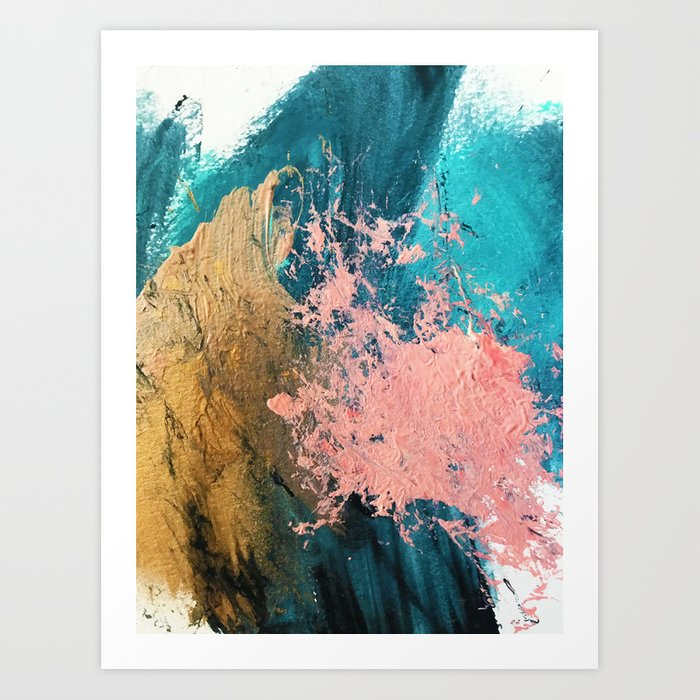 Coral Reef 1 Colorful Abstract In Blue Teal Gold And