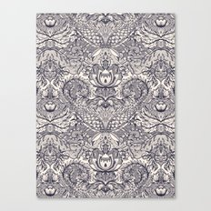 Natural Rhythm 2 - a hand drawn pattern in charcoal & cream Canvas Print