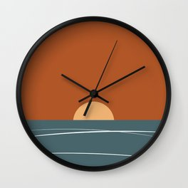 Abstract Red Sunset Wall Clock