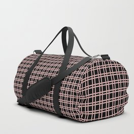 Textured Pink Design With Black Checkered Pattern Duffle Bag