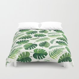 Monstera and palm leaves Duvet Cover