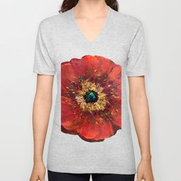 Red Poppy Unisex V-Neck