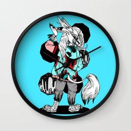 """Hipster Kirin"" , Trendy, Punk, Comics, black and white, cartoon, ink, fashion, dragon, pop art Wall Clock"