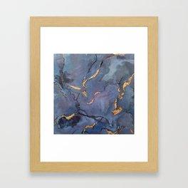 Mojave Purple Turquoise - an original encaustic painting Framed Art Print