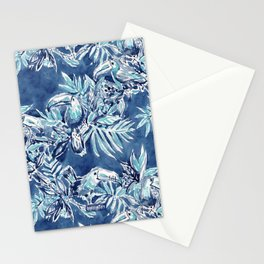 TOUCAN PLAN Indigo Tropical Pattern Stationery Cards