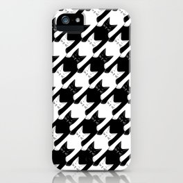cats-tooth in black and white (houndstooth pattern) iPhone Case