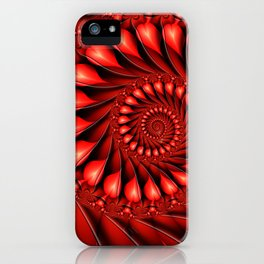 Red Hearts, Abstract Fractal Art Fantasy iPhone Case