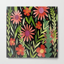 Flower Burst Orange and Black, floral pattern design Metal Print