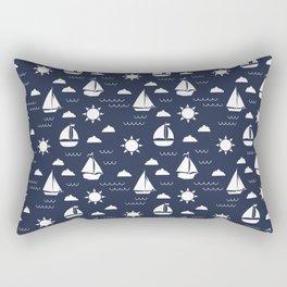 Sailboat Bay // Navy Rectangular Pillow