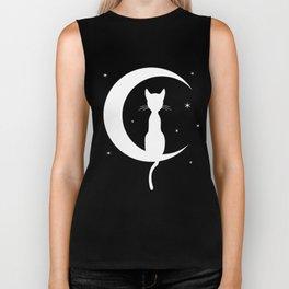 Cat on Moon Silhouette (Darks) Biker Tank