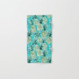 AQUA PINEAPPLE O'CLOCK Tropical Hawaiian Watercolor Hand & Bath Towel