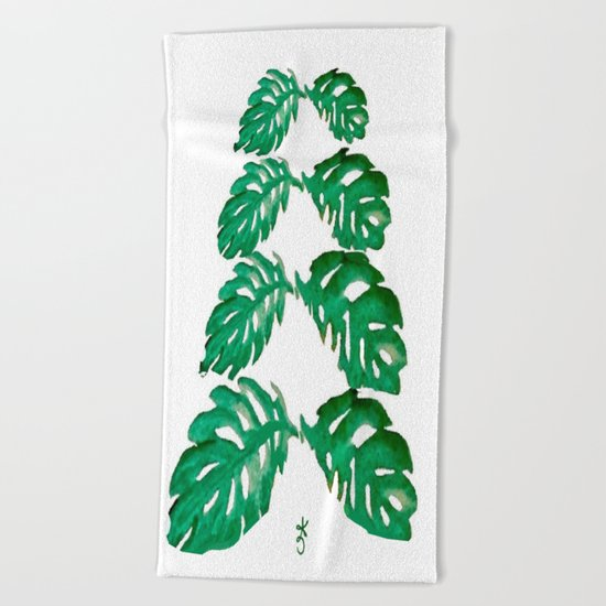 Holiday Tree Leaves perfect for a card Beach Towel