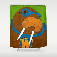 walrus Shower Curtains featuring Walrus by subpatch
